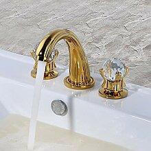3-Loch-Armatur vergoldet Waschtischarmatur,