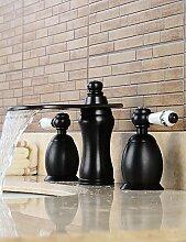 3-Loch-Armatur Zwei Griffe Drei L?cher in Bronze mit ?lschliff Waschbecken Wasserhahn