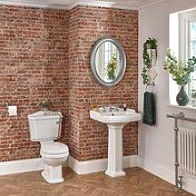 3-Loch Waschbecken und Stand-Toilette Set