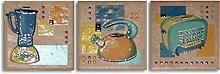 3 Mosaikfliesen Einleger Toscana Cotto, Fliese 10x10 cm mit Motiv: Mixer, Wasserkocher, Toaster