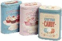 3 Nostalgiedosen Dosen Kaffee Tee Zucker Vorrats-Dose Metall Blechdose Vintage