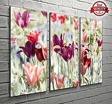 3Panel Wand-Dekor Blumen schleichenden Landschaft Leinwand Bilder für Ihr Wohnzimmer Schlafzimmer oder Badezimmer Prints?Zwei Größen zur Auswahl - Large: 3 x 16 x 30 inch