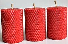 3 rote handgerollte Wabenkerzen aus 100%