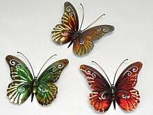 3 Schmetterlinge Gartendeko Terasse Wanddeko Balkon Schmetterling Butterfly