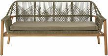 3-Sitzer-Gartensofa aus kakigrünem Schnurgeflecht