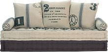 3-Sitzer Polsterbank aus Baumwolle, beige/grau