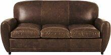 3-Sitzer-Schlafsofa im Vintage-Stil, aus Leder,