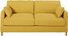 3-Sitzer-Schlafsofa senfgelb, Matratze 10 cm