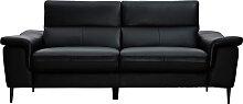 3-Sitzer schwarzes Ledersofa mit verstellbaren