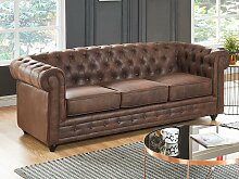 3-Sitzer-Sofa Chesterfield Microfaser DANIEL -