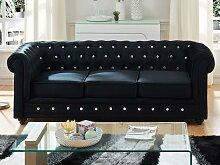 3-Sitzer-Sofa Chesterfield Samt ANNA - Schwarz mit