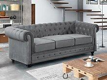 3-Sitzer-Sofa Chesterfield Samt ANNA - Silbergrau