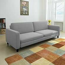 3-Sitzer-Sofa Hellgrau Stoff - Youthup