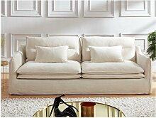 3-Sitzer-Sofa Leinen & Baumwolle ADILA - Weiß