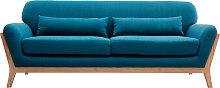 3-Sitzer Sofa mit Holzfüßen in Entenblau