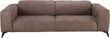 3-Sitzer-Sofa mit Kopfstützen und braunem
