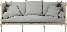 3-Sitzer-Sofa mit Leinenbezug, graublau Adele