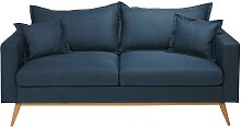 3-Sitzer-Sofa mit nachtblauem Stoffbezug Duke