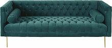 3-Sitzer-Sofa mit Samtbezug, grün Liam