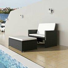 3-Sitzer Sofa-Set Derell aus Polyrattan mit Polster