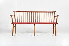 3-Sitzer Teak & Skai Bank, 1960er