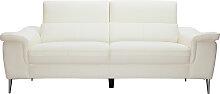 3-Sitzer weißes Ledersofa mit verstellbaren