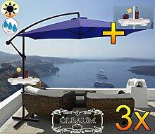 3 Stk. PREMIUM XXL Ampelschirm Durchmesser 300 cm, blau 6-teilig, 6 Streben, robustes ca. 200 g/m² Polyester, Sonnenschirm mit Schirmbeistelltisch UV50+ KOMPLETT mit Standkreuz, Standfuß + ca. 50 mm Mast,marine blau groß, guter Sonnenschutz / Regenschutz, PREMIUM XXL-Klappschirm, groß, robust stabil, königsblau cyan blanc-bleu mehrfach verstellbar, Sonnenschirm, Strandschirm, Gartenschirm extrem wetterfest, klappbar, tragbar, seewasserfest, Sonnenschutz, stabiler Schirm