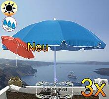 3 Stk. PREMIUM XXL Sonnenschirm, 180 cm / Q 1,80 m EDEL mit Volant, Sonnendach Schirm Strandschirm, blau hellblau/dunkelblau weiß, 8-teilig/8eckiger Strandschirm,Sonnendach /Sonnenschutz Dach, XXL-Klappschirm, Gartenschirm extrem wetterfest, klappbar, tragbar, seewasserfest, hochwertig robust stabil, Sonnenschutz, stabiler Schirm Klappschirm, Strandschirme, Sonnenschirme, Sonnenschirm-Tische