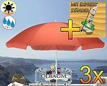 3 Stk. PREMIUM XXL Sonnenschirm mit Getränketisch, rot lachsrot orange, 180 cm / 1,80 m, 8-teilig / 8-eckig massiv robust, Strandschirm, Strandschirm,Sonnendach /Sonnenschutz Dach, XXL-Klappschirm, Gartenschirm extrem wetterfest, klappbar, tragbar, seewasserfest, hochwertig robust stabil, Sonnenschutz, stabiler Schirm Klappschirm, Sonnenschirme, Sonnenschirm-Tische, Regenschirm Picknickschirme, Gartenmöbel Holz