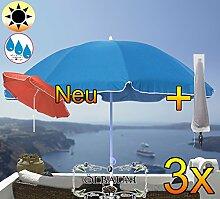 3 Stk. PREMIUM XXL Sonnenschirm mit Hülle, 180 cm / Q 1,80 m EDEL mit Volant, Sonnendach Schirm Strandschirm, blau hellblau/dunkelblau weiß, 8-teilig/8eckiger Strandschirm,Sonnendach /Sonnenschutz Dach, XXL-Klappschirm, Gartenschirm extrem wetterfest, klappbar, tragbar, seewasserfest, hochwertig robust stabil, Sonnenschutz, stabiler Schirm Klappschirm, Strandschirme, Sonnenschirme, Sonnenschirm-Tische