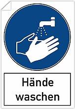 3 Stück Aufkleber 200x300 mm - Hände waschen mit