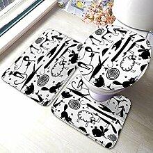 3 Stück Bad Teppich Set lustige Tiere für Ihr