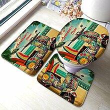 3 Stück Bad Teppich Set Sommer Hippie Vintage