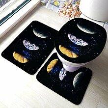 3 Stück Badezimmer Teppich Set Bunte Deep Space