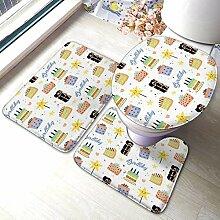 3 Stück Badezimmer Teppich Set Happy Birthday