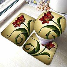 3 Stück Badezimmer Teppich Set Schöne rote Tulpe