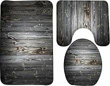 3 Stück Badteppich Set Creative Antique Holz Muster Druck Bad Teppich große Kontur Matte mit Deckel Abdeckung , 5