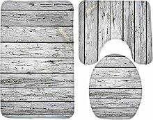 3 Stück Badteppich Set Creative Antique Holz Muster Druck Bad Teppich große Kontur Matte mit Deckel Abdeckung , 3