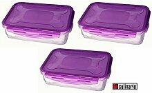 3 Stück culinario Cloc Vorratsdose und Frischhaltedose, BPA-frei, lila, 1,2 l