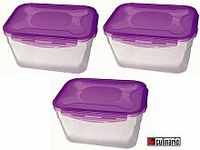 3 Stück culinario Cloc Vorratsdose und Frischhaltedose, BPA-frei, lila, 4,7 l