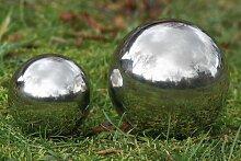 3 Stück Dekokugel, Gartenkugel Galaxy in silber