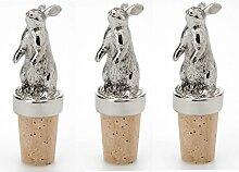 3 Stück- Edler Figuren- Flaschenstöpsel- Hase -