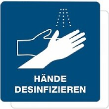 3 Stück HInweis-Aufkleber - Hände desinfizieren