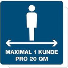 3 Stück Hinweis-Aufkleber - Max. 1 Kunde pro 20qm