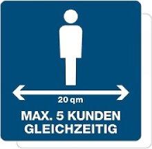 3 Stück Hinweis-Aufkleber - Max. 5 Kunden