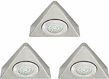 3 Stück Küchenleuchte LED Unterbau aus gebürstetem Stahl - Aufbauleuchte für Vitrinen & Küche - 230V 1,5W neutralweiß Dreieck