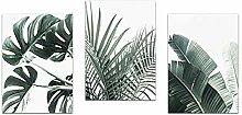 3 Stück Leinwand Malerei Wand Kunstdruck Pflanze