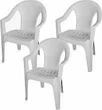 3 Stück Stapelstuhl Rattan Look Gartenstuhl Gartensessel Kunststoff Balkonmöbel Terrassenmöbel - Weiß