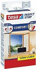 3 Stück tesa Insect Stop COMFORT Fliegengitter für Fenster / Insektenschutz mit selbstklebendem Klettband in Anthrazit / 120 cm x 240 cm