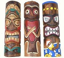 3 Stück Tiki Maske 50cm im Hawaii Style 3er Set